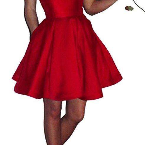 A Line Homecoming Dress, Little Red Junior Party Dress, Spaghetti Straps Short Homecoming Dress,Satin Homecoming Dress HG1699