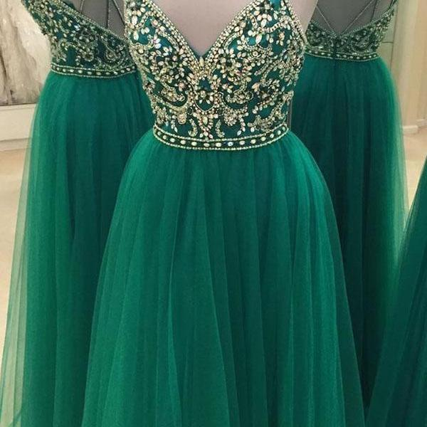 Bling Sequin Beading Prom Dresses, Spaghetti Straps Long Prom Dresses, Formal Sweetheart Prom Dresses