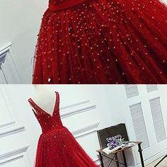 Charming Prom Dress,Luxurious A-Line Round Neck Red Long Prom Dress with Pearl