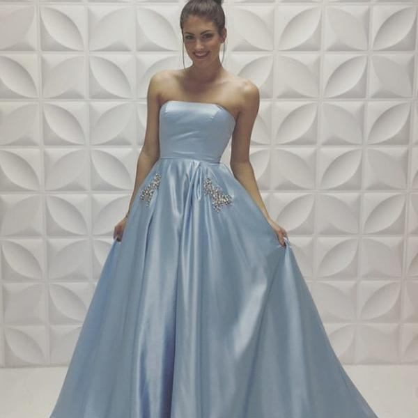 Light Blue Prom Dress, A-line Satin Prom Dresses, Simple Prom Dress, Sweet 16 Dress, Special Occasion Dresses, Charming Prom Dress