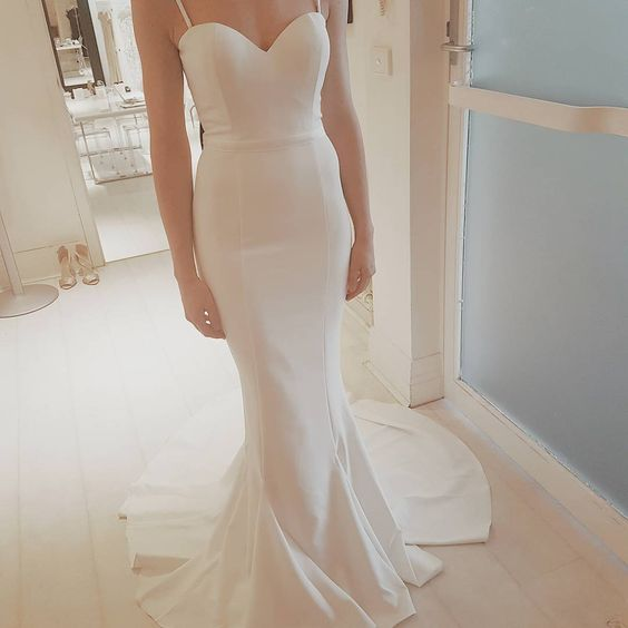 Charming White Prom Dress, Sexy Speghetti Straps Prom Dress, Formal Dress for Weddings, White Wedding Dress, Mermaid Prom Dress, Simple Wedding Dress