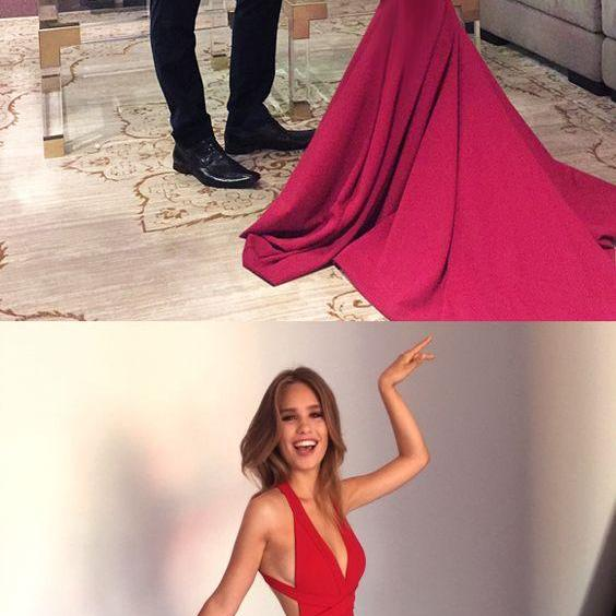 Sexy Red Prom Dress, Sexy Red Mermaid Long Prom Dress, Formal Evening Dress with Criss Cross Back, Woman Evening Dress