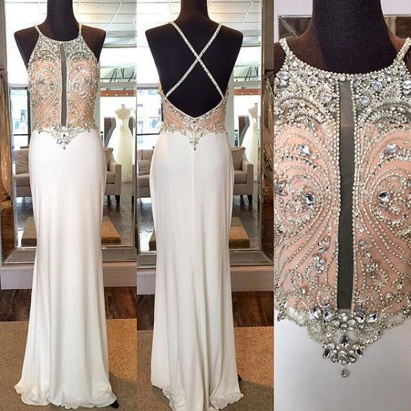 Crystal Sheath Floor Length Prom Dress,Evening Dresses,Crossed Back Beading Party Gowns