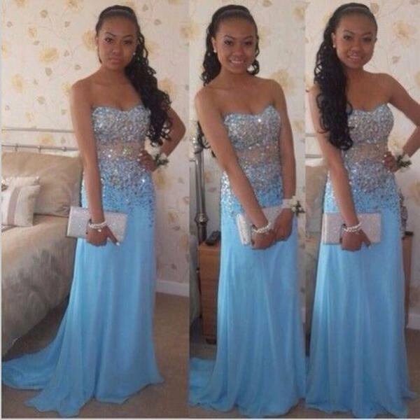 Sky Blue Beaded Prom Dresses,Sexy Sweetheart Backless Prom Dress,Long Chiffon Party Dress.Plus Size Sweep Train Pageant Runway Gowns