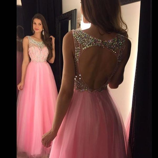 Prom Dress Elegant Pink Evening Dress Formal Beaded Party Gowns A Line Sexy Open Back Cap Sleeve Long Pageant Runway Dress