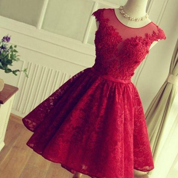 Short Cap Sleeve Knee Length Burgundy Sheer Prom Dress China Graduation Dress With Lace Appliques