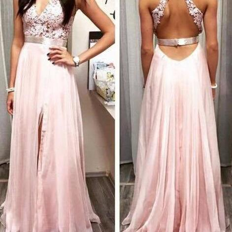 Light Pink Prom Dress,Open Back Prom Dress,Cheap Prom Dress, Lace Chiffon Long Prom Dress,Backless V Neck Front Split Sexy Prom Gowns,Silver Belt Halter Formal Women Evening Dresses Prom