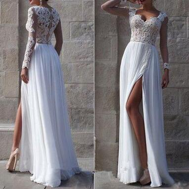Lace Wedding Dress,Long Sleeves White Wedding Dress, Cheap Bridal Gown, V Neck see through front split beach wedding dresses,cheap bridal wedding gowns,white prom dress