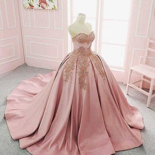 Long Floor Length ball gown Wedding Dress,quinceanera dresses, Evening Dresses, Glamorous Prom Dress, blush pink Bridal Dresses