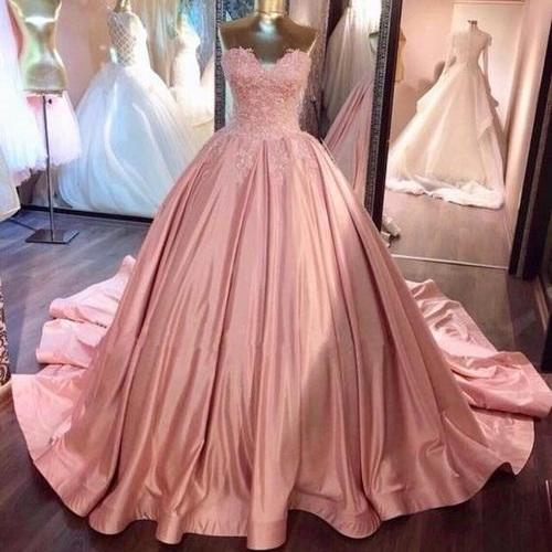 blush pink Bridal Dress,Long Floor Length ball gown Wedding Dress,quinceanera dresses, Evening Dresses, Glamorous Prom Dress, blush pink Bridal Dresses