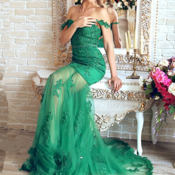 Beautiful Emerald Green Prom Dress,Lace Mermaid Evening Dresses, Robe De Soiree Prom Dresses,Longue Appliques Evening Dresses,Transparent Sexy prom Dress