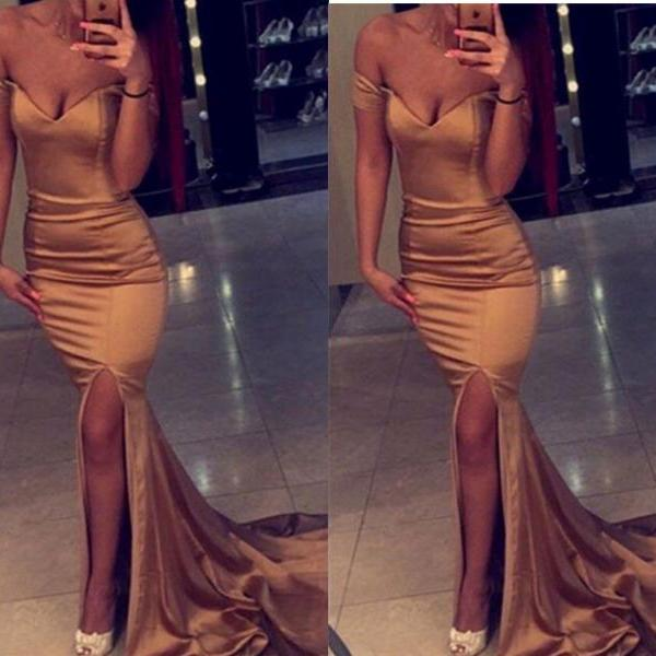 Champagne Off the Shoulder Prom Dress,Mermaid Sexy Satin Prom Dress,Side Slit Party Dress,Bridesmaid Dresses,Evening Gowns