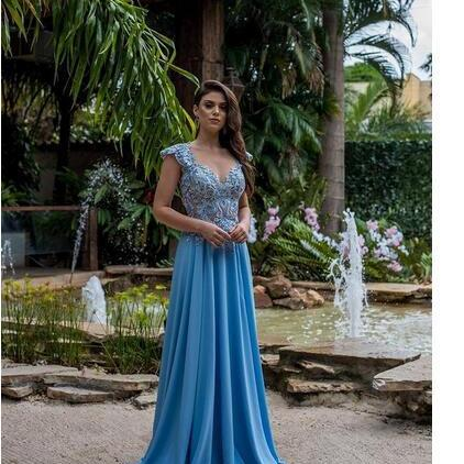 Light Sky Blue Split Evening Dresses,A Line Cap Sleeves Prom Dresses,Appliqued Arabic Style Party Robe de soriee ,Deep V Neck Backless Prom Dresses