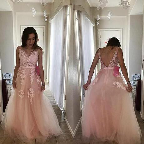 Vintage Pearl Pink Prom Dress,Formal Evening Dresses, A Line V Neck Prom Dresses,Lace Appliques Party Prom Gowns, Beaded Floral Backless Summer Beach Dress