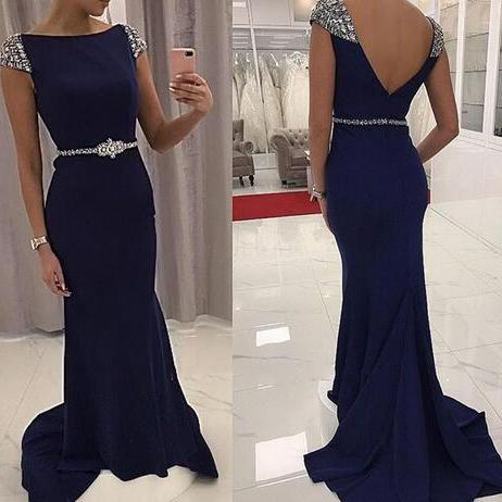 Navy Blue Mermaid Fomal Dresses Evening Wear Jewel Short Sleeve Beaded Waist Satin Backless Prom Party Gown Mother Of Bride Wear