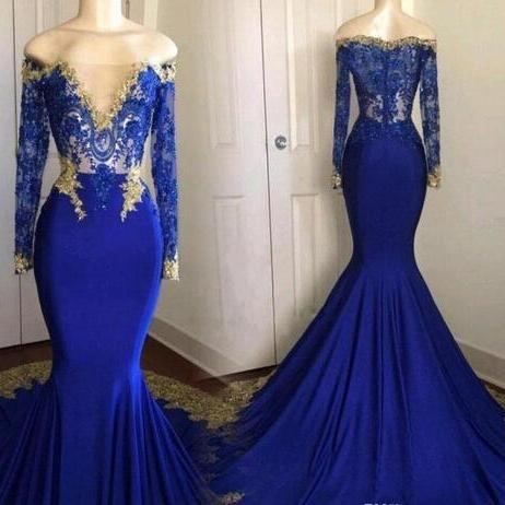 Actual Picture Blue And Gold Prom Dress,Mermaid Formal Evening Dress, Bateau Lace Applique Prom Dresses,Zipper Sweep Train Prom Dress,Arabic Muslim Prom Pageant Gown,Prom Dresses Evening Gowns