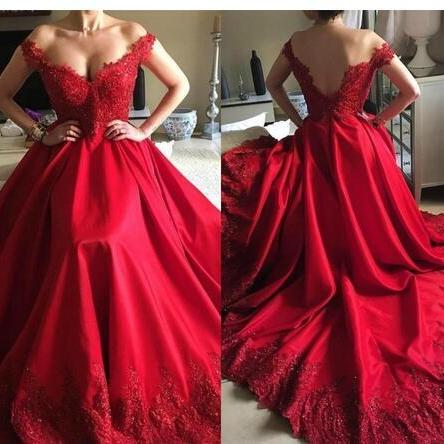 Dark Red Evening Dresses Wear Arabic Off Shoulder Lace Appliques Beaded Crystal Satin V Back Formal Prom Party Dress Gowns Vestidos,Long Prom Gowns,Backless Prom Dresses Evening Gowns