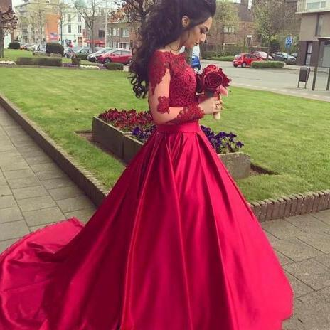 Romantic Red A Line Prom Dresses Off Shoulder Lace Appliques Top Long Sleeves Satin Court Train Party Evening Gowns Wear,Long Prom Gowns,Backless Prom Dresses Evening Gowns