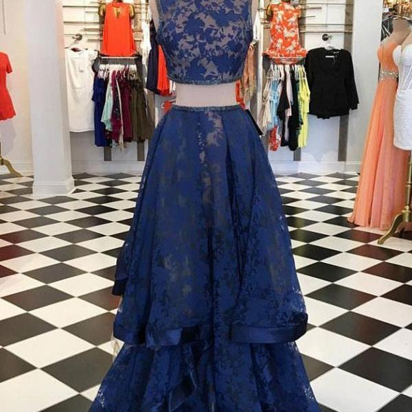 Dark blue lace Prom Dress,two pieces long prom dress, dark blue evening dress,Long Prom Gowns,Prom Dresses,Evening Gowns