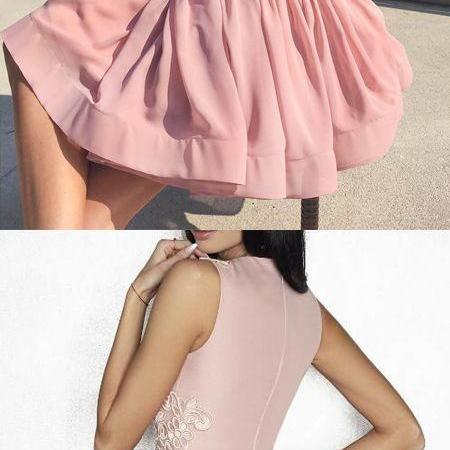 A-line homecoming dresses,short homecoming dress,pink party dress,Evening Dress, Prom Gowns, Formal Women Dress,prom dress