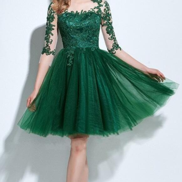 Half Sleeves Homecoming Dress,Tulle Lace Prom Dress,Sexy Cocktail Dresses,Tea Length Party Dresses, Short homecoming dress