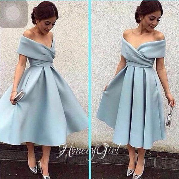 Prom Dress,Tea-Length Evening Dress,Off-the-Shoulder Evening Dresses,Elegant Party Dress for Women