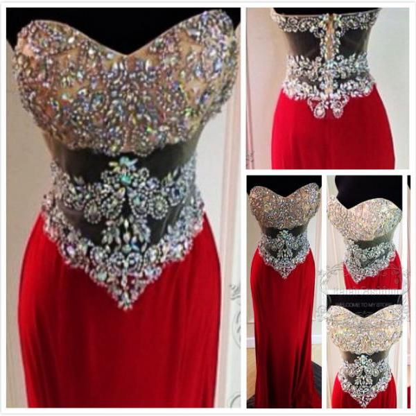Sparkling Red Long Prom Dress,Beaded Prom Dress, Prom Gowns,Sexy Prom Dress,Sheer Prom Dress,Handmade Prom Dress with Sequin,Women Formal Prom Dress