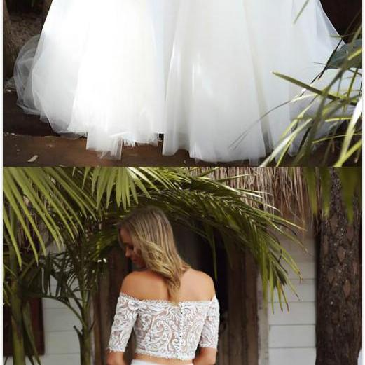 Two-Piece Prom Dress,Off Shoulder Half Sleeves prom Dress,Cheap Prom Dress,Mermaid Prom Dress, White Tulle Long Wedding/Prom Dress with Lace