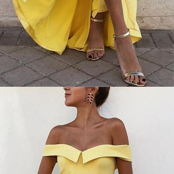 Sexy Off the Shoulder Yellow Side Slit Long Prom Dress,Long Evening Dress, Prom Dress, Prom Gowns, Formal Women Dress,prom dress