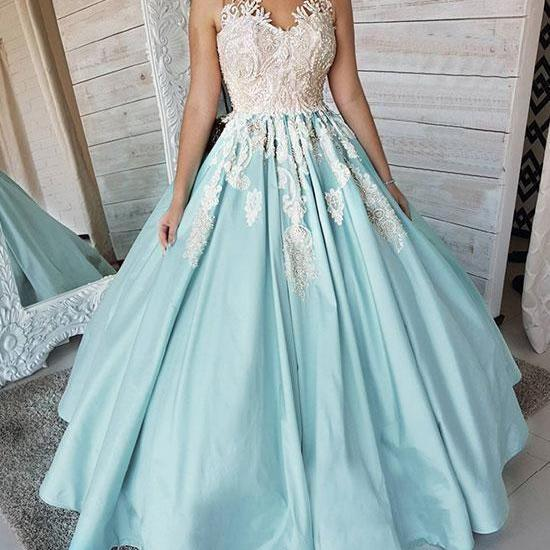 Light Blue Prom Dress,A-line Long Evening Dress, Unique satin lace applique long prom dress, blue evening dress