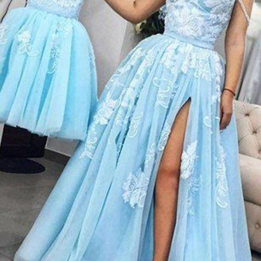 Sweetheart Neck Tulle Prom Dresses,Light Blue A-Line Prom Dress, Sexy Appliques Party Dress ,Long Evening Dress, Prom Dress, Prom Gowns, Formal Women Dress,prom dress