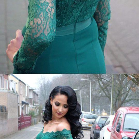 Lace Long Sleeves Mermaid Prom Dresses Off The Shoulder Evening Gowns