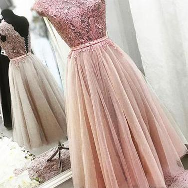 Pink lace tulle short prom dress, homecoming dresses,Homecoming Dress