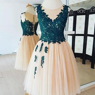 Champagne lace homecoming dresses,tulle short prom dress, homecoming dress