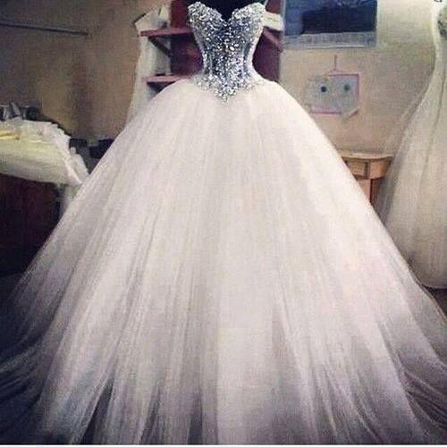 Tulle Ball Gown Wedding Dresses, Crystal Beading Bridal Dresses