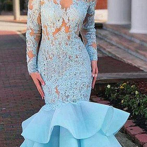 Long Sleeve Appliques Lace Prom Dress, Sexy Blue Formal Long Evening Dress