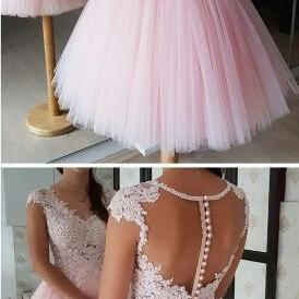 Short Homecoming Dresses ,Beaded Lace Blush Pink Prom Dress,Sexy Prom Dress,Tulle Prom Dress,Short Homecoming Dresses