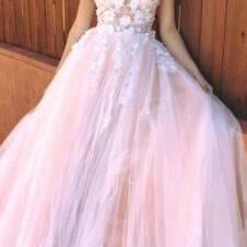Sexy V Neck Pink Evening Dress,Long Prom Dress,cheap prom dress,prom dresses