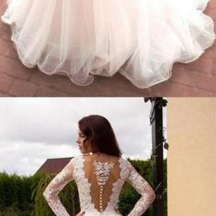 Princess Wedding Dress,Long Wedding Dresses,A-Line V-Neck Tulle Bridal Dress, Ivory Long Sleeves Wedding Dresses