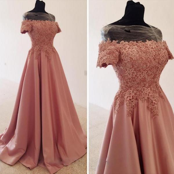 Off-the-Shoulder Satin Wedding Dress, Beaded Lace Wedding Dresses,Long Prom Dress, Gentle A-Line Evening Dress