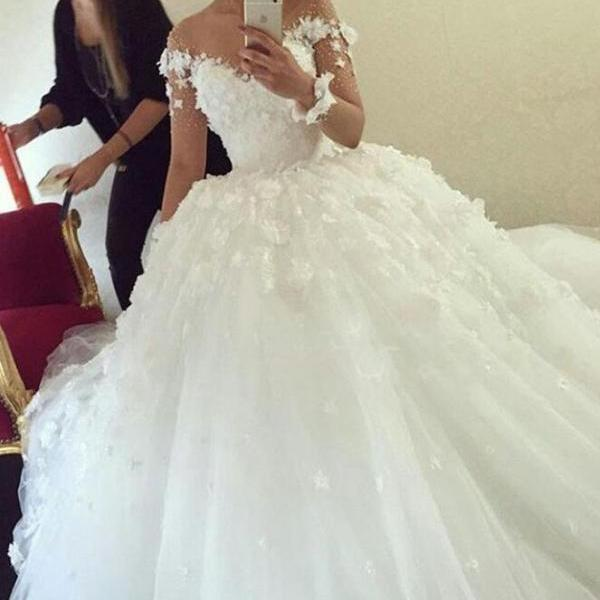 White Wedding Dresses with Flowers,Cheap Wedding Dress,Long Sleeves Wedding Dresses, Ball Gown Wedding Dress ,Princess Wedding Dresses,Beautiful Wedding Dresses,Wedding Dress