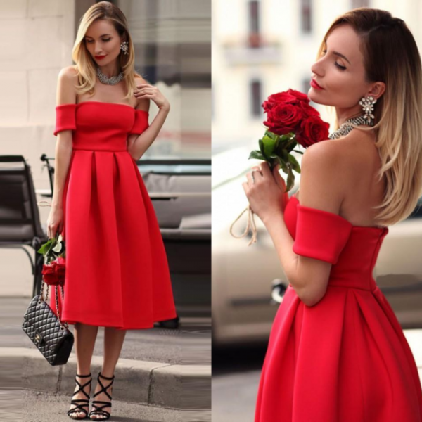 Elegant Red Satin Homecoming Dresses, Tea Length Homecoming Dress, Party Dress