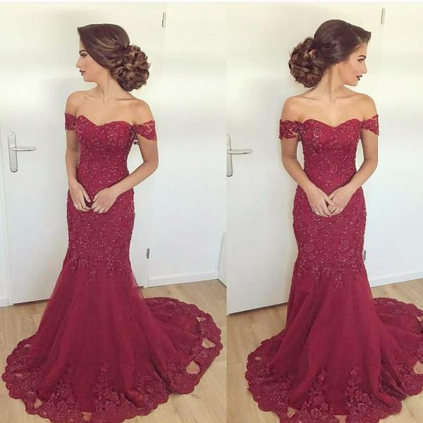 Appliques Prom Dress, Off Shoulder Burgundy Mermaid Evening Dress, Lace Evening Gown