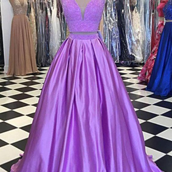 Lavender Two Pieces Prom Dress with V Neck Top,Evening Dresses