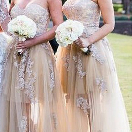 Champagne Sweetheart Bridesmaid Dress with Lace Appliques, Elegant Tulle Bridesmaid Dresses