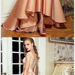 Satin Prom Dresses,Short Prom Dress,Lace Prom Dress,Bateau Neckline Prom Dress,A-Line Wedding Dresses With Lace Appliques