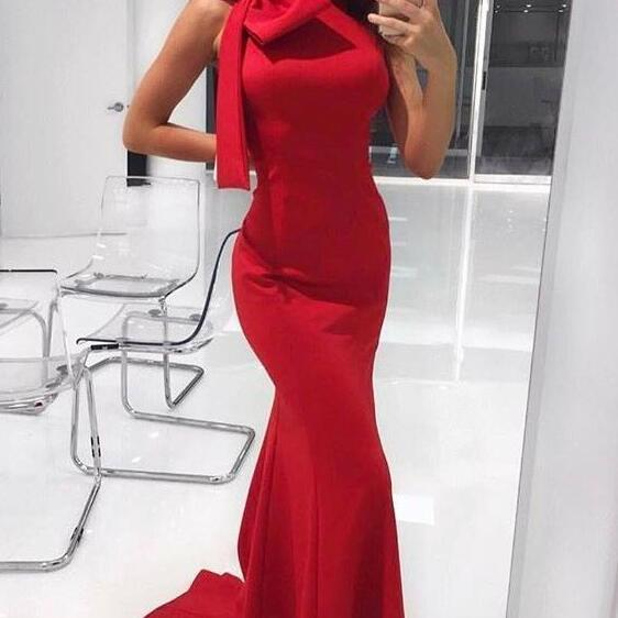 Gorgeous Prom Dress,Sexy Prom Dress,Red Evening Dress,Mermaid Red Long Prom Dress with Bow