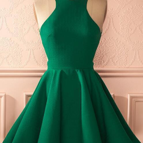 Sexy Green Backless Homecoming Dress,Cheap Homecoming Dresses,A-Line Homecoming Dress,SHort prom Dress,Halter Backless Green Homecoming Dress With Pleats