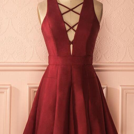 Burgundy Sleeveless Homecoming Dresses,Sexy A-Line Prom Dress,V-neck Short Homecoming Dress,Burgundy Short Homecoming Prom Dress