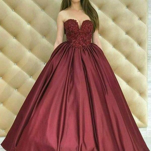 Elegant Burgundy Prom Dresses,Stain Prom Dress,Sweetheart Ball Gown Prom Dress,Burgundy Satin Long Prom/Evening Dress with Lace